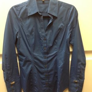 Express Blue Stretch Button Up Small.